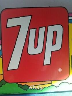 7UP The Uncola Rainbow Metal Flange Sign Origina PETER MAXX Coke Cola Soda