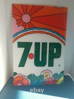7UP The Uncola Rainbow plastic soda machine Sign Origina PETER MAXX Coke