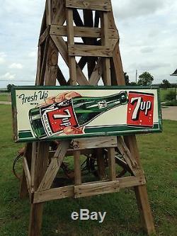 7-Up Embossed Non Porcelain Metal Sign 1950 Soda Cola Like Crush Pepsi Coke NICE