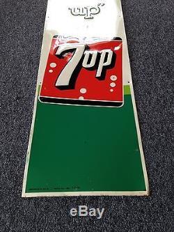 7-Up Embossed Non Porcelain Metal Sign 1962 Soda Cola Like Crush Pepsi Coke NICE