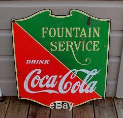 ANTIQUE Vintage Cameo 1935 Coca Cola Soda Fountain Service Porcelain Sign