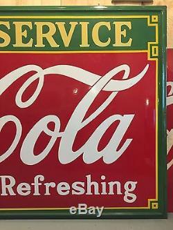 Amazing Vintage 1935 Drink COCA COLA Fountain Service HUGE Porcelain Sign 96x54