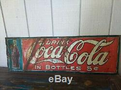 Antique 1920's Coca Cola 5 Cent Bottles Tin Advertising Sign
