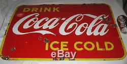 Antique 1946 Coca Cola Soda Porcelain Bottle Advertising Store Display Art Sign