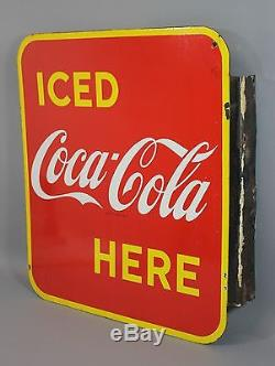 Antique 1949 Iced COCA-COLA Sold Here Canadian Porcelain Flange Sign