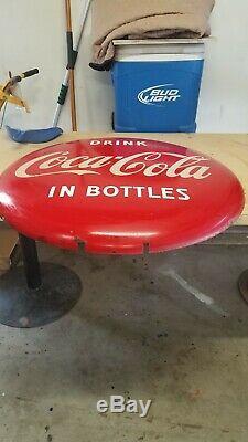 Antique 1950s Drink Coca-Cola In Bottles Button, 36 inch, soda pop sign