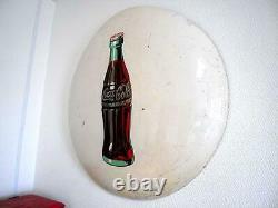 Antique 50's Drink Coca Cola Metal Button Round Porcelain Sign Vintage Retro