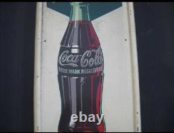 Antique 5¢ Coca Cola Refresh Yourself 1923 Sign Vintage Retro 5-cent Coke