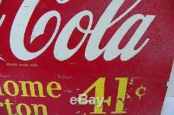 Antique COCA COLA bottle rack sign TAKE HOME A CARTON 36 CENTS