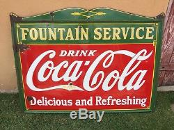 Antique Coca Cola Fountain Service Sign