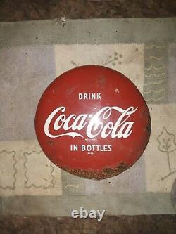 Antique Coca Cola In Bottles 12 Inch Round Metal Advertising Curved Button Sign