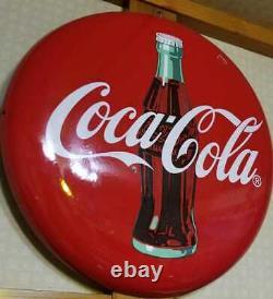 Antique Drink Coca Cola Metal Button Round Porcelain Sign Vintage Retro Red