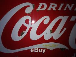 Antique Drug Store Sign Coca Cola Coke SODA FOUNTAIN PORCELAIN ART ADVERTISING