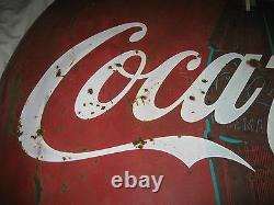 Antique MID Century 48 Coca Cola Soda Glass Bottle Metal Art Advertising Sign