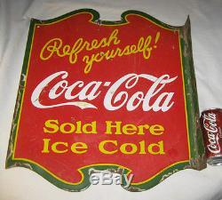 Antique Original Dbl. Sided Coca Cola Soda Bottle Porcelain Sign Art Advertising
