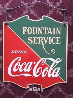 Antique Porcelain Embossed Coca-Cola Fountain Service Sign Double Sided 1934