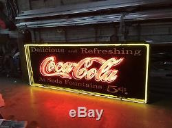 Antique Sign Can With Old Style Neon Coke Billboard design