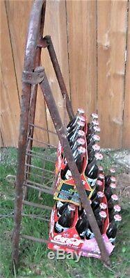 Antique USA Coca Cola Folding Metal Display Rack Bottle Package Art Stand Holder