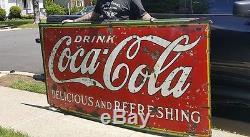 Antique USA Coca Cola Soda Fountain Bottle Porcelain Art Advertising Store Sign