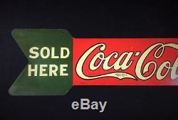 Antique Vintage COCA COLA METAL SIGN Original 1927-1929 Two Sided Arrow Scarce