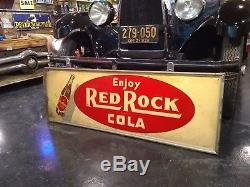 Antique Vintage Red Rock Cola Tin Advertising Sign Metal General Store Coke Coca