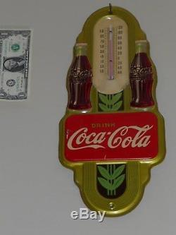 Antqe/Vtg Adv Thermometer Sign, COCA COLA Soda, Dbl-Bottle COKE, 1941, RARE, Org, USA