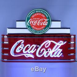 Art Deco Neon sign Coca Cola Evergreen Soda Fountain Marquee Steel Can Machine