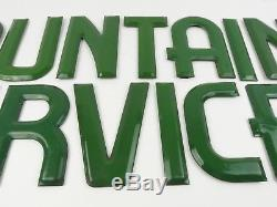 Auth Coca-Cola Fountain service porcelain 6 green letters for Marquee sign Rare