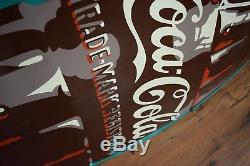 Beautiful HUGE Coca Cola Tin embossed Sign Bottle Die Cut 1950's Gas Station Adv