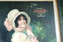 Betty Coca Cola Tin Litho Sign Original Embossed Frame Excellent Cond Soda Signs