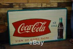 Big Vintage Coca-Cola Sign Tin Original 32x56 inch Nice shape Soda Gas Station