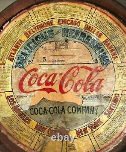 CIRCA 1930s Vntge WOODEN CORKED AUTHENTIC COCA-COLA 5 GALLON SYRUP BARREL Havana