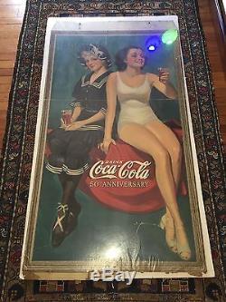 COCA COLA 1886 1936 2 WOMEN CALENDAR POSTER 50th ANNIVERSARY
