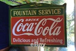 COCA COLA 1933 PORCELAIN Enamel Hand Painted SIGN Vintage Coke Rare