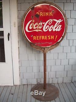 COCA COLA 1938 LOLLIPOP SIGN WITH BASE 2 SIDED PORCELAIN Coke Button