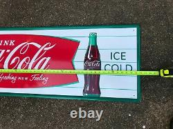 COCA COLA FISHTAIL LARGE, EMBOSSED METAL ADVERTISING SIGN (54x 18) NEAR MINT