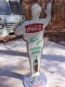 Coca-cola Fishtail Policeman Sign Crossing Guard