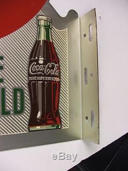 Coca Cola Flange Metal Sign. 1953 Original Vg Shape 22 1/2 X 18 A-m 3-53
