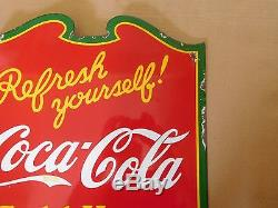 COCA COLA FLANGE SIGN 1938 PORCELAIN DOUBLE SIDED SIGN VERY GOOD CONDITION