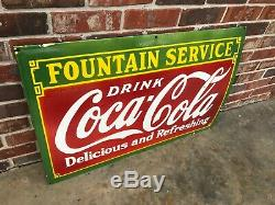 COCA COLA FOUNTAIN SVC LARGE, HEAVY PORCELAIN SIGN (36x 24), VERY NICE SIGN