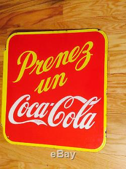 COCA-COLA FRENCH DOUBLE SIDED METAL VINTAGE LARGE BUILDING ADVERTISING SIGN