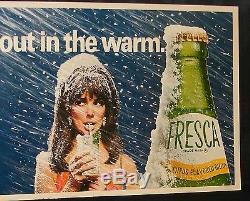 COCA COLA FRESCA SODA DELIVERY TRUCK CARDBOARD POSTER SIGN 66 X 33 1960's