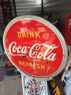 COCA COLA LOLLIPOP SIGN 2 SIDED PORCELAIN Button 1940 Will Ship Freight