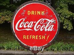 COCA COLA LOLLIPOP SIGN WITH BASE 2 SIDED PORCELAIN 1930 1940 Coke Button