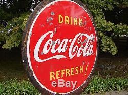 COCA COLA LOLLIPOP SIGN WITH BASE 2 SIDED PORCELAIN 1930 1940 Coke Button