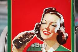 COCA COLA Large Metal Sign 1942 Vintage Advertising Sign Amazing! 54 x 19 in