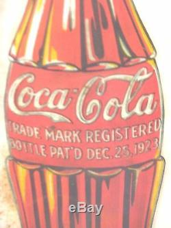 Coca Cola Super Rare Metal Sign With 2 1923 Christmas Bottles, Dated 1929 W@w