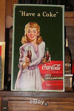 COCA COLA Vintage Advertising Cardboard Litho Original 1943 McCandlish 16x27