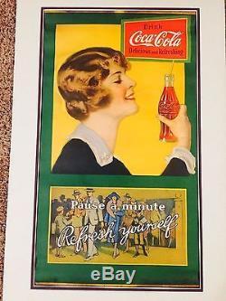 COCA COLA Vintage Advertising PAPER SIGN HANGER SIGN 1920'2 RARE Sign
