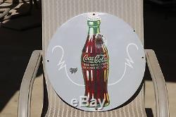 COCA COLA Vintage Advertising Porcelain sign ROUND 1930's